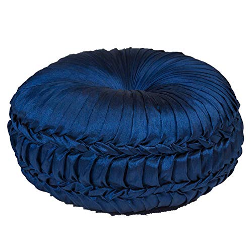 - TINA'S HOME Rich Faux Silk Round Pleated Throw Pillow for Sofa Bed Decor (D 14'' x H 5'') - Sapphire Blue