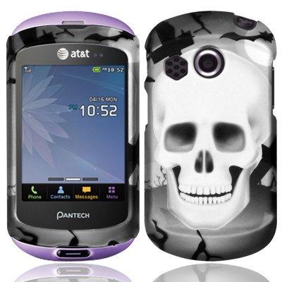 For Pantech Swift P6020 Hard Design Case Cover White Cross Skull