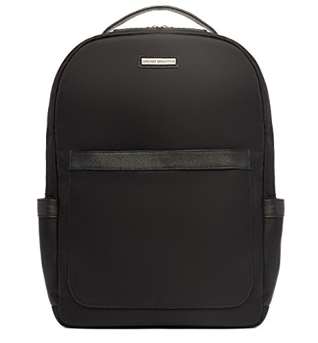 "Archer Brighton Jake Laptop Backpack, Men's 15"" Business TSA Travel Leather Canvas Multipurpose Backpack (Black) by Archer Brighton"