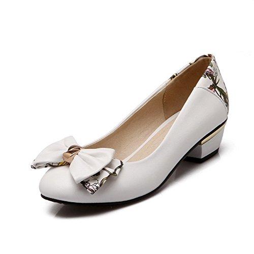 Damen Rund Zehe Ziehen auf PU Leder Niedriger Absatz Pumps Schuhe, Weiß, 39 AllhqFashion