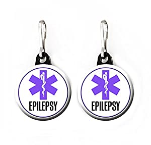 Medical Alert Tag - Epilepsy - Pack Zipper Pull Charms / Emergency Tag / Medical Warning