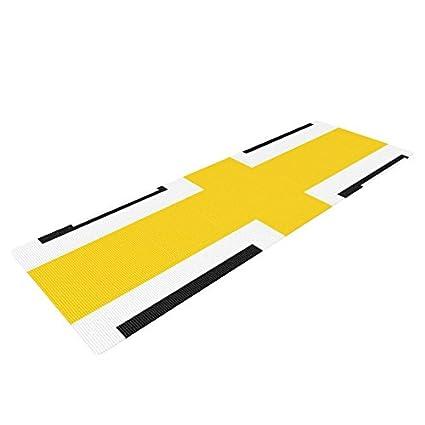 Kess InHouse Oriana Cordero Across The White Yoga Exercise Mat, Yellow/Black, 72 x 24-Inch