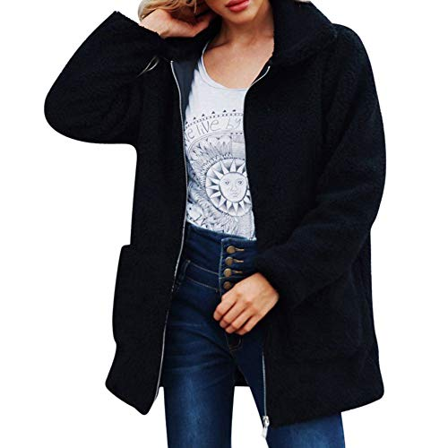 chaqueta Capucha ZARLLE Sudadera sintética mujeres Sportswear casual capucha Jacket larga Parka manga Capa con Outwear Cremallera con piel Mujer para mujer rebecas Negroa de cálida Chaqueta Tops pXqgxW