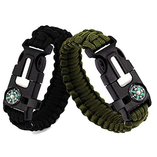 Feellove 2pcs Survival Bracelets Compass Flint Bracelet Outdoor Escape Survival Hand Rope Survival Whistle Life-Saving Flint Bracelet