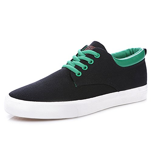 rismart Mens Lace-Up Low Wedge Canvas Sneakers Comfort Hiking Espadrilles Shoes Black 9953 US8