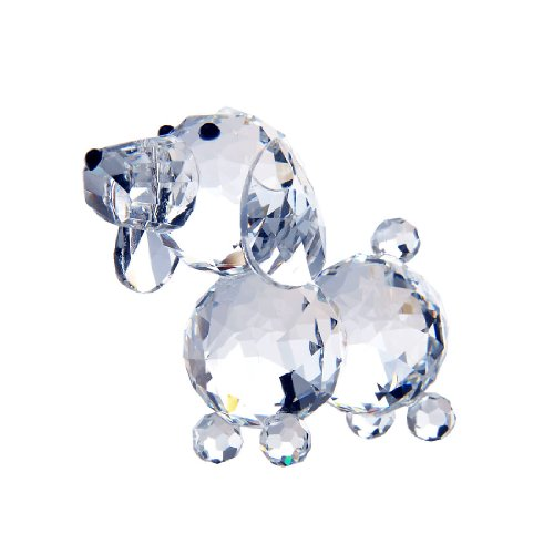 H&D Crystal Cute Dog Figurine Collection Cut Glass Ornament Statue Animal Collectible (Optical Glass Collection)
