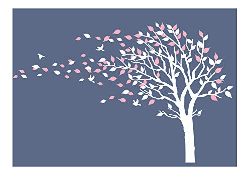 LUCKKYY Tree Blowing in The Wind Tree Wall Decals Wall Sticker Vinyl Art Kids Rooms Teen Girls Boys Wallpaper Murals Sticker Wall Stickers Nursery Decor Nursery Decals (Pink+White)