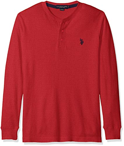 U.S. Polo Assn. Men's Long Sleeve Thermal Henley, red Heather, L