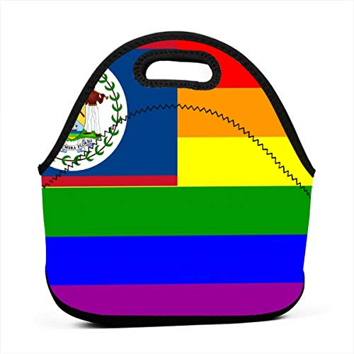 Women Men Kids Lunch Bags Insulated Zip Portable Meal Package Lunch Box Picnic Outdoor Travel Fashionable Handbag Belize Rainbow LGBT Pride Flag