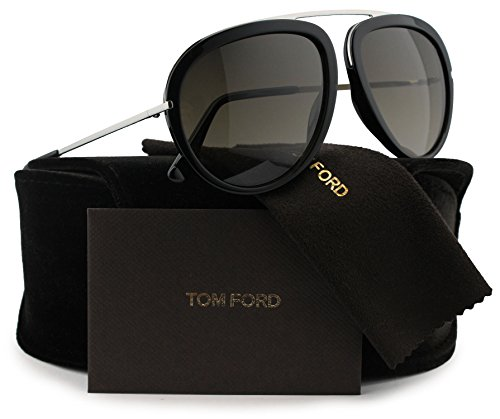 TOM FORD FT0452 Stacy Aviator Sunglasses Shiny Black w/Grey Gradient (01K) TF 452 01K 57mm - Tom Stacy Sunglasses Ford