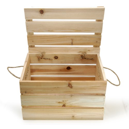 """The Lucky Clover Trading Wood Crate Storage Box with Swing Lid, 11"""" L, Natural"""
