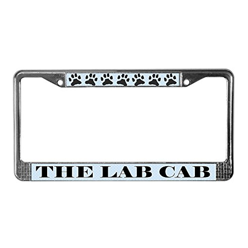 CafePress Lab Cab Chrome License Plate Frame, License Tag Holder