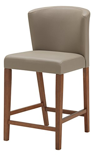 Baxton Studio Olivia Mid-Century Modern Scandinavian Style Dark Walnut Wood with Grey Faux Leather Pub Stool (Set of 2)