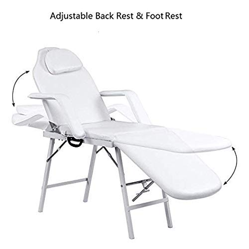 Adjustable Barber Spa Salon Massage Bed Facial Beauty Tattoo Chair White (73'') by Gentle Shower (Image #3)