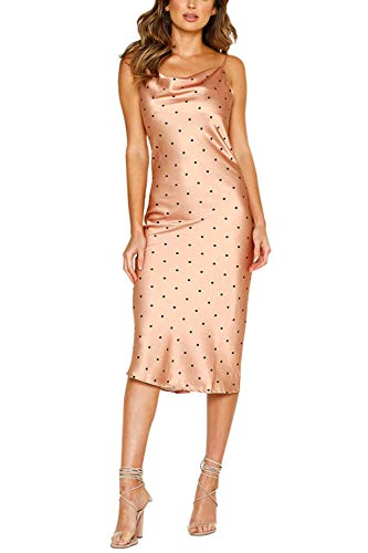 Linsery Women's Satin Spaghetti Strap Rear Zipper Low Neck Polka Dot Club Midi Dress Rose Gold M