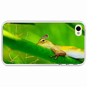 iPhone 4 4S Black Hardshell Case lizard grass paw Transparent Desin Images Protector Back Cover