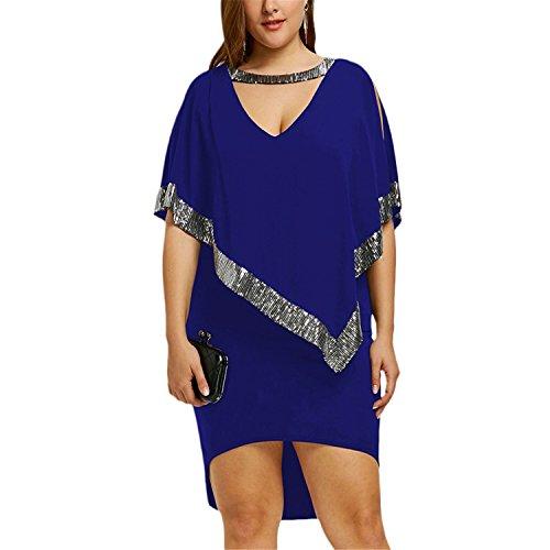 (Jerald Logan Plus Size 5XL Sequined Dress Women Choke V Neck Split Sleeve Bodycon Dip Hem Party Dress Big Size Femme Blue 5XL)