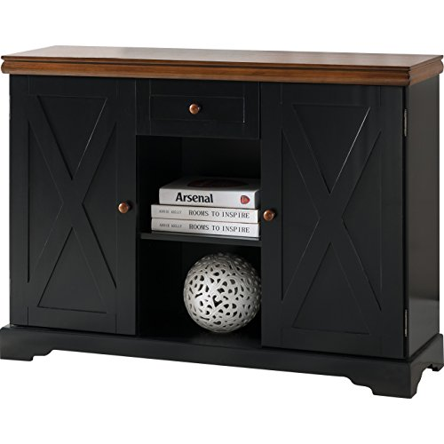 Server with 1 Drawer and 2 Cabinet Storage Made w/ Manufactured Wood in Black and Walnut Finish 30'' H x 42'' W x 12'' D in.