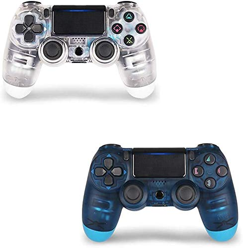 2 Pack Controller for PS4,Wireless Controller for Playstation 4 with Dual Vibration Game Joystick (White Blue)