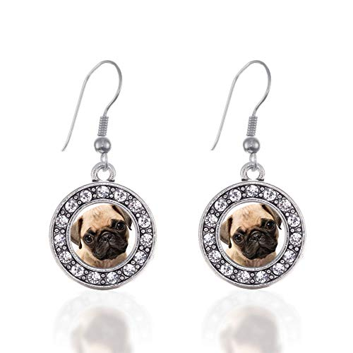 - Inspired Silver - Pug Charm Earrings for Women - Silver Circle Charm French Hook Drop Earrings with Cubic Zirconia Jewelry