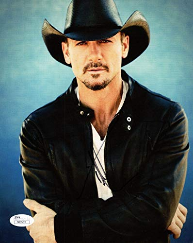 - TIM MCGRAW HAND SIGNED 8x10 COLOR PHOTO HANDSOME COUNTRY SINGER - JSA Certified