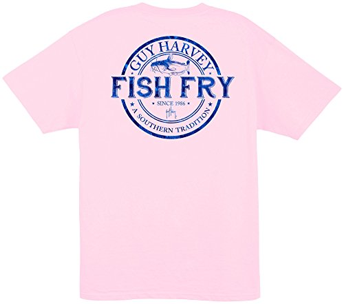 Guy Harvey Fish Fry S/S Pocket Tee, Light Pink, S - Harvey Light