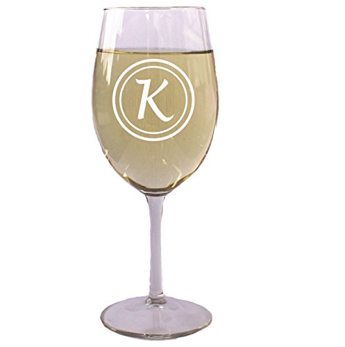 Monogrammed Personalized White or Red Wine Glass with Initial 16 Oz - Wedding Party Bridesmaid Mother's Day Housewarming Gifts - Custom Engraved Drinkware Glassware Barware Etched for - Wine Monogrammed Red