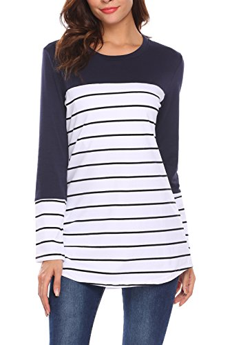 Kancystore Women's Long Sleeve Color Block Striped Tunics Tops For Leggings Navy (Colorblock Tunic Top)