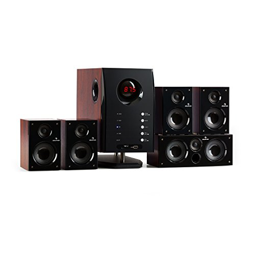 auna Areal Active 525 WD 5.1 Channel Home Theater Speaker System • Stereo Sound • 95 W • Active 5.25″ Bass Reflex Subwoofer • 5 Satellite Speakers • Bluetooth • Display • Brown