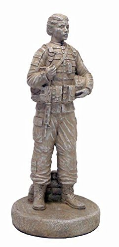 Solid Rock Stoneworks Female Soldier Stone Statue 24in Tall Desert Sand Color