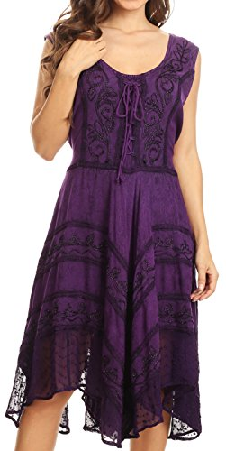 Sakkas 123 Sundara Stonewashed Rayon Mid Length Dress - Purple - 1X/2X
