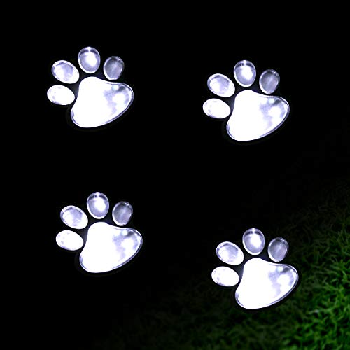 Elnsivo Solar Outdoor Animal Paw Design Decorative Lamp Solar Paw Print Garden Lights(Set of 4) Decor for Patio,Yard,Walkway Lighting, Any Pet Dog Cat Lover(Solar paw) (Garden Set Light)