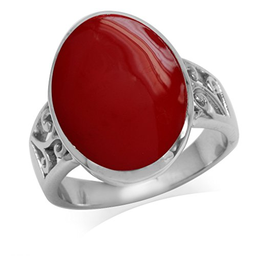 - Created Red Coral Inlay White Gold Plated 925 Sterling Silver Filigree Ring Size 9