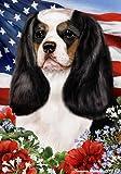 Cavalier King Charles Tri Dog - Tamara Burnett Patriotic I Garden Dog Breed Flag 12'' x 17''