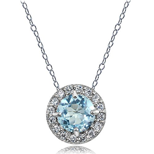 Ice Gems Sterling Silver Blue and White Topaz Round Halo Necklace