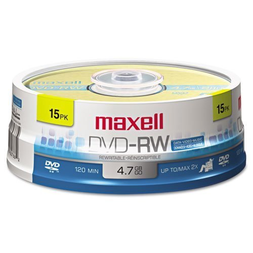 Maxell® - DVD-RW Discs, 4.7GB, 2x, Spindle, Gold, 15/Pack - Sold As 1 Pack - Rewritable.