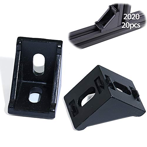 Boeray 20pcs 2028 Black Aluminum Corner Bracket for 2020 Aluminum Extrusion Profile Slot 6mm
