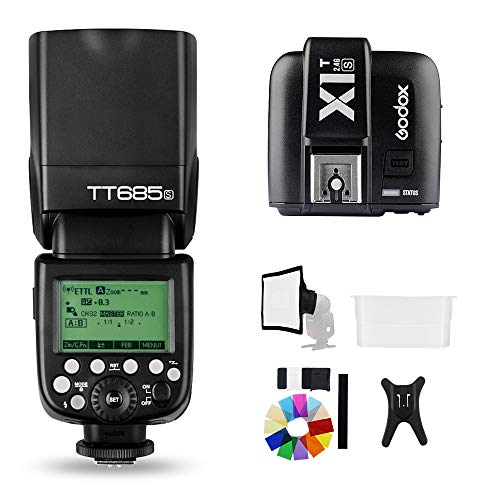 Godox TT685S 2.4G HSS 1/8000S TTL GN60 Flash Speedlite with X1T-S Trigger Transmitter Kit, Flash Diffuser 23 23cm Softbox and Flash Color Filters Compatible for Sony A58 A7RII A7II A99 A9 A7R A6300