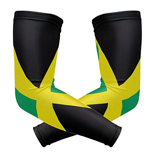 (ZZKKO Jamaica Flag Cooling Arm Sleeves Cover Uv Sun Protection for Men Women Running Golf Cycling Arm Warmer Sleeves 1 Pair)