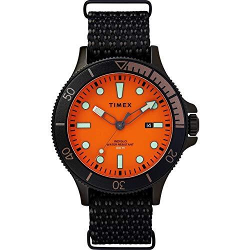 Timex Men's 43 mm Allied Coastline Fabric Strap Black/Orange One Size