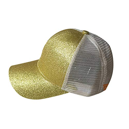 DSFEWRD Glitter Ponytail Baseball Cap Women Hat Summer Messy Bun Mesh Hats Casual Adjustable Sport Caps Gold 2 with tag -