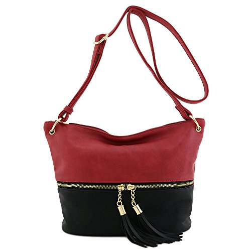 Tassel Accent Bucket Crossbody Bag