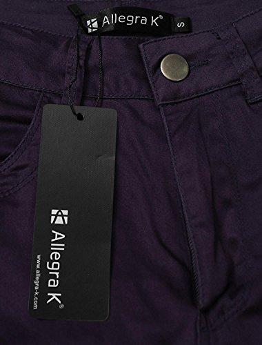 Mode Couleur Pantalon Chic Lilas Crayon Extensible Élégant Libre zip Maigre Taille Temps Unie Femme Demi HqtUP