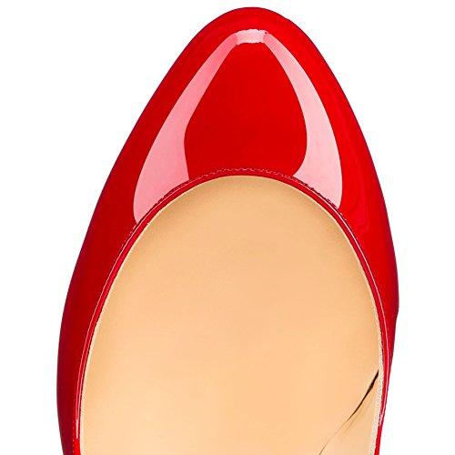 Arc-en-Ciel los zapatos de las mujeres de las bombas de ondas punta redonda de tacón alto Rojo