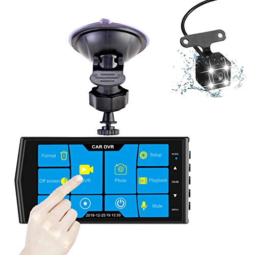 Night Vision G-Sensor Parking Monitor Motion Detection WDR MuMn 4 Touch Screen Car Dash Camera DVR Recorder FHD 1080P Wide Angle Loop Recording Front and Rear Glass Lens
