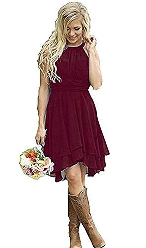 Erosebridal Short Bridesmaid Dresses Chiffon Halter Prom Dress Country Wedding Dress Burgundy 10 (Best Mother Of The Groom Dresses 2019)