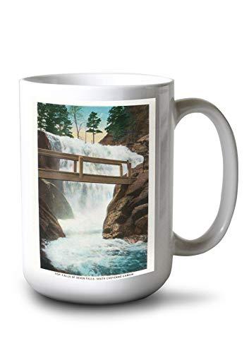 Seven Falls Colorado Springs - Lantern Press Colorado Springs, Colorado - View of Top Falls of Seven Falls, South Cheyenne Canyon (15oz White Ceramic Mug)