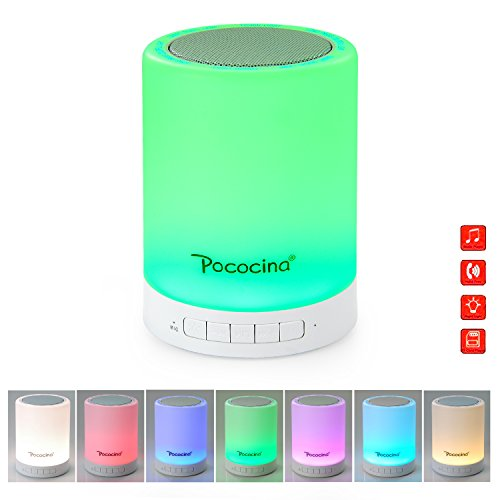 Pococina US-BS001 Touch Table Lamp Color Changing LED Bedside Lamp With Portable Camping Hook Bluetooth Speaker