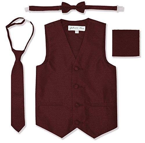 Burgundy Vest Set - JL34 Boys Formal Tuxedo Vest Set (10, Burgundy)