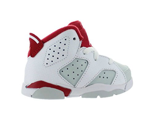 Air Jordan Retro 6 Alternate Mid Infant Toddler Lifestyle Shoe (White/Gym Red/Pure Platinum); Size: 4